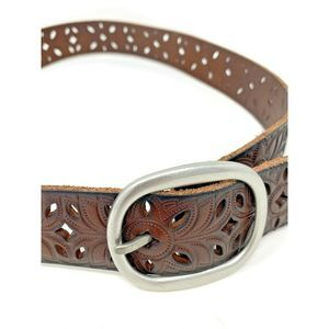 Fossil Belt Brown Leather Floral Perforated
